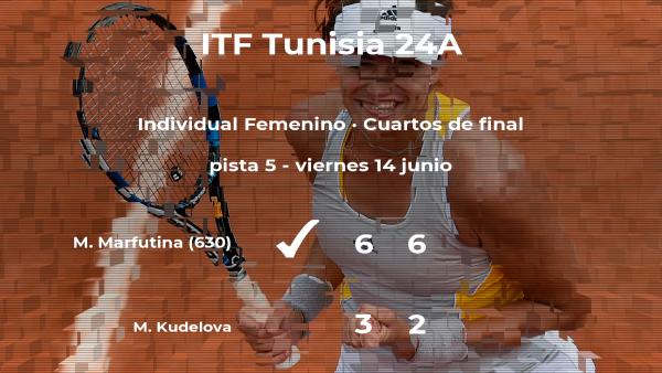 Maria Marfutina pasa a la próxima fase del torneo de Tabarka tras vencer en los cuartos de final
