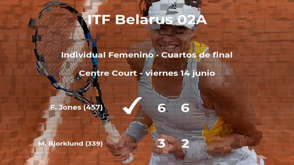 La tenista Francesca Jones vence en los cuartos de final del torneo de Minsk