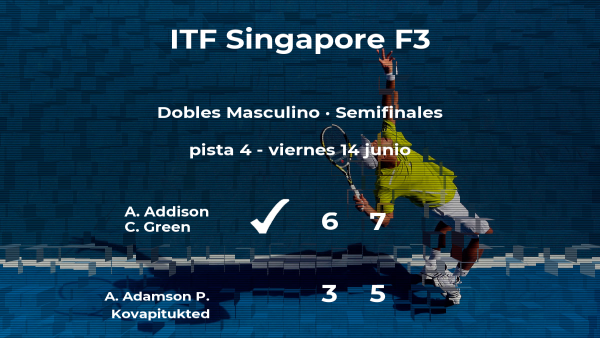 Los tenistas Addison y Green se clasifican para la final del torneo de Singapur