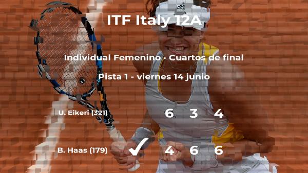 La tenista Barbara Haas consigue clasificarse para las semifinales a costa de la tenista Ulrikke Eikeri