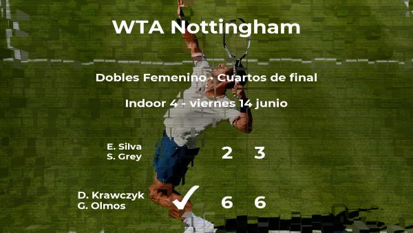 Las tenistas Krawczyk y Olmos ganan en los cuartos de final del torneo WTA International de Nottingham