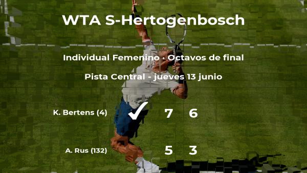 La tenista Kiki Bertens, clasificada para los cuartos de final del torneo WTA International de 's-Hertogenbosch