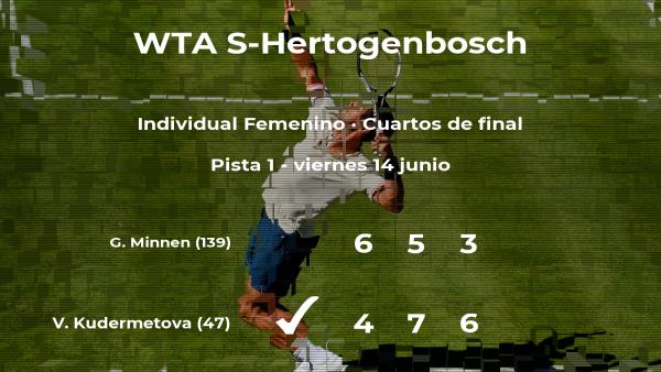 La tenista Veronika Kudermetova, clasificada para las semifinales del torneo WTA International de 's-Hertogenbosch