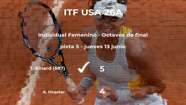 Tori Kinard logra la plaza de los cuartos de final a expensas de Ava Hrastar