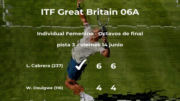 Lizette Cabrera pasa a los cuartos de final del torneo de Manchester