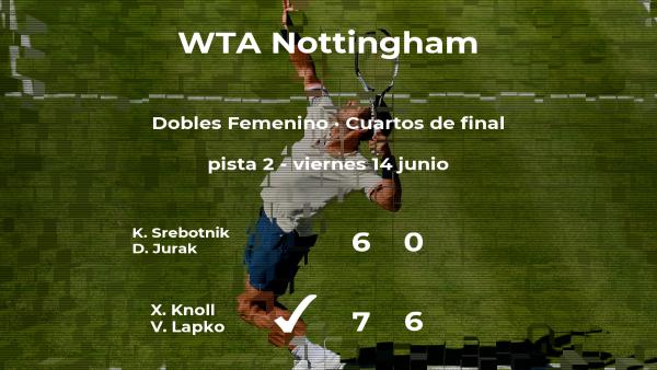 Las tenistas Srebotnik y Jurak se quedan a las puertas de las semifinales del torneo WTA International de Nottingham