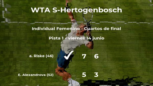 alison Riske vence en los cuartos de final del torneo WTA International de 's-Hertogenbosch