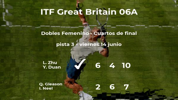 Las tenistas Zhu y Duan consiguen la plaza de las semifinales a costa de Gleason y Neel