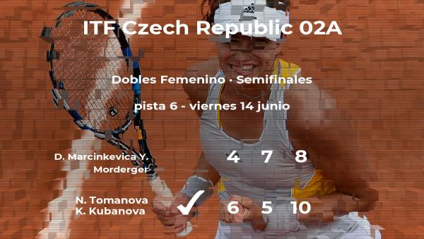 Las tenistas Tomanova y Kubanova pasan a la siguiente fase del torneo de Prerov tras vencer en las semifinales