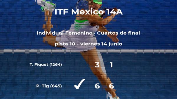 La tenista Patricia Maria Tig logra el puesto de las semifinales a expensas de la tenista Tiphanie Fiquet