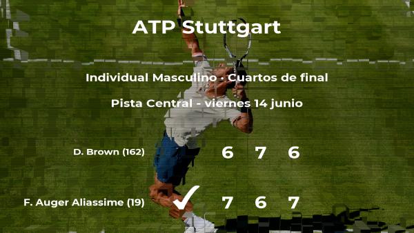 El tenista Felix Auger Aliassime logra clasificarse para las semifinales a costa de Dustin Brown
