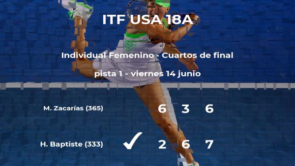 La tenista Hailey Baptiste consigue clasificarse para las semifinales a costa de la tenista Marcela Zacarías