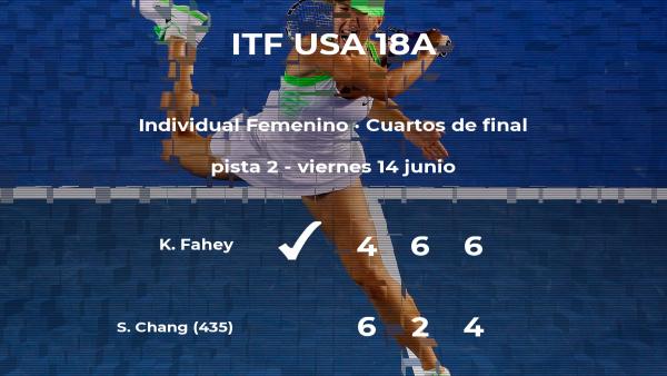 La tenista Katharine Fahey logra clasificarse para las semifinales a costa de Sophie Chang