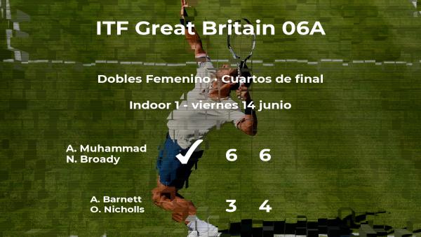 Las tenistas Muhammad y Broady consiguen la plaza de las semifinales a costa de Barnett y Nicholls