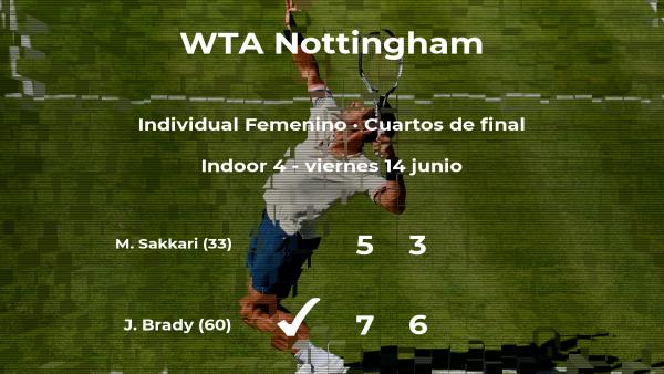 La tenista Jennifer Brady logra clasificarse para las semifinales a costa de la tenista Maria Sakkari