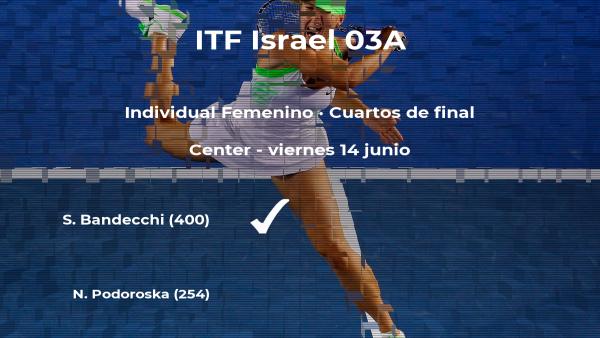 La tenista Susan Bandecchi logra la plaza de las semifinales a costa de Nadia Podoroska