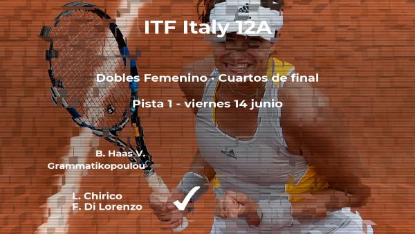 Chirico y Di Lorenzo ganaron a Haas y Grammatikopoulou y estarán en las semifinales del torneo de Roma