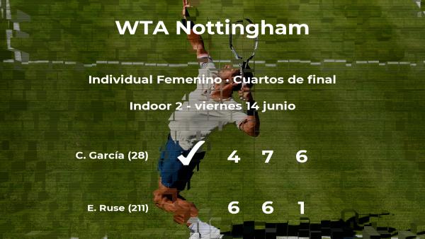 La tenista Caroline García se hace con la plaza de las semifinales a expensas de la tenista Elena Gabriela Ruse