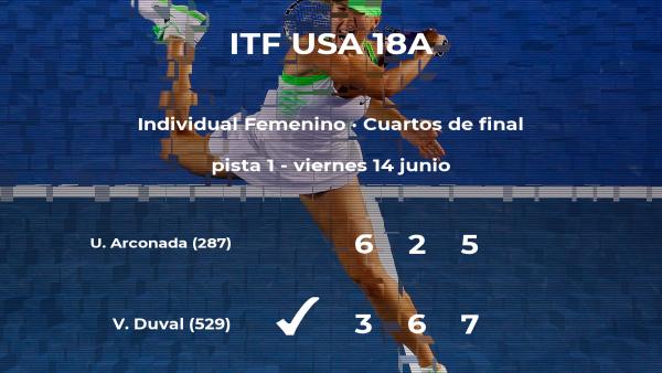 Victoria Duval consigue clasificarse para las semifinales a costa de la tenista Usue Maitane Arconada