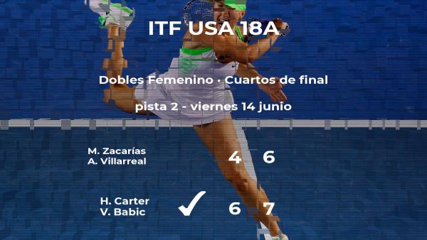 Las tenistas Carter y Babic ganan en los cuartos de final del torneo de Sumter