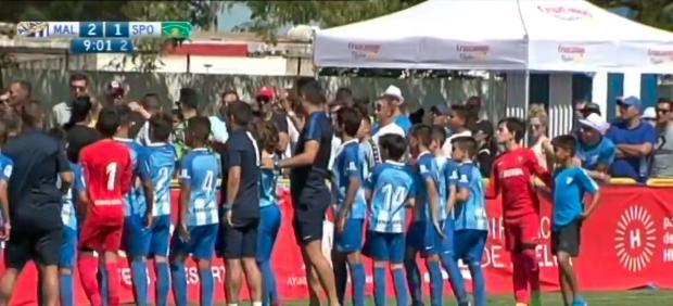 Los niños del Málaga dan una lección a sus padres