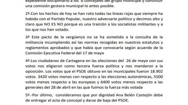 Agrupaciones del PSOE de Cartagena exigen a Castejón la entrega del acta de concejal y que se de baja del partido
