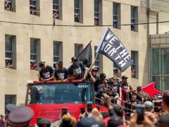 Los Raptors celebran el título de campeones de la NBA