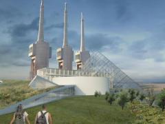 Recreación del proyecto museográfico y de centro para el fomento de la paz de la antigua central térmica de las Tres Xemeneis de Sant Adrià de Besòs (Barcelona) y que incluye una pirámide de vidrio en el conjunto similar a la del Museo del Louvre de París.