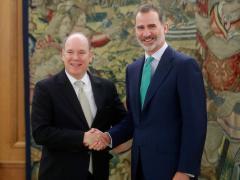 Felipe VI recibe a Alberto de Mónaco