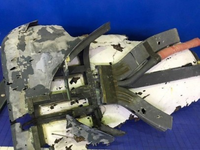 Restos del fuselaje del dron estadounidense derribado por Irán