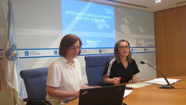 La responsable de Augas de Galicia, Teresa Gutiérrez, y la conselleira de Infraestruturas, Ethel Vázquez, en la presentación de ayudas contra la sequía