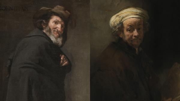 A la izquierda: 'Menipo'. Diego Velázquez.  A la derecha: 'Autorretrato como el apóstol san Pablo'. Rembrandt van Rijn.