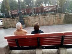 Una pareja de jubilados, en Oviedo