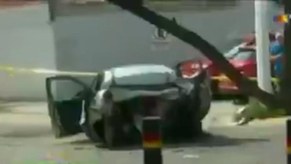 El coche accidentado por Joao Maleck