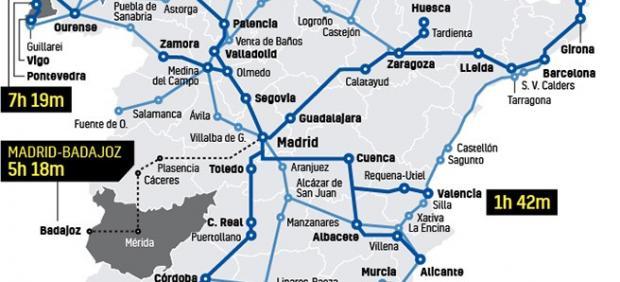 Mapa de la red ferroviaria española