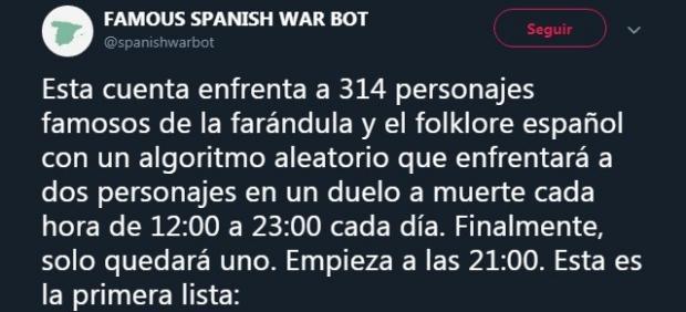 Un bot de Twitter enfrenta a famosos españoles en una guerra a muerte y las...