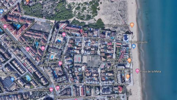 Imagen de Google Maps de la Playa La Mata de Torrevieja