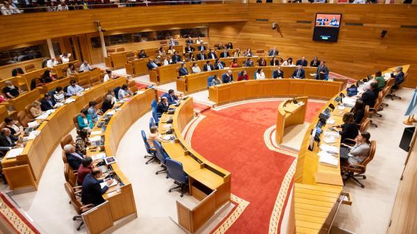 Pleno del Parlamento de Galicia durante la sesión de control al presidente de la Xunta, Alberto Núñez Feijóo