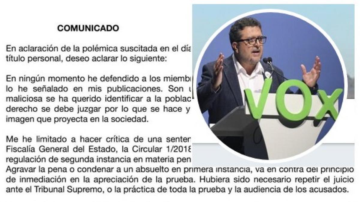"""Líder de Vox en Andalucía se coge un mes de baja tras el """"linchamiento"""" por sus comentarios sobre 'La Manada'"""