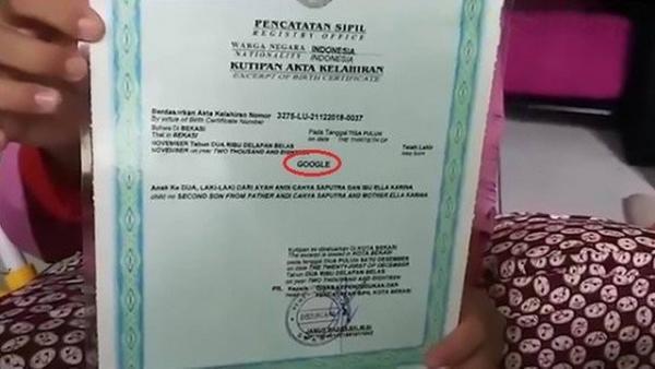 Certificado de nombre