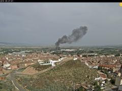 Imangen del incendio en una empresa del polígono 'El Pilar' de Alfaro