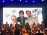 Clara Ponsatí, Carles Puigdemont y Toni Comín, en videoconferencia.