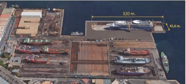 Infografía del dique seco que va a construir ASTICAN en el Puerto de la Luz de Las Palmas.