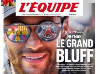 Neymar en la portada de 'L'Équipe'