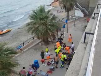 Actuación de los servicios de emergencia en Punta Prima