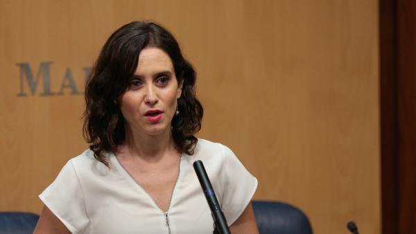 La candidata del PP a la Presidencia de la Comunidad, Isabel Díaz Ayuso, esta semana en la Asamblea de Madrid.