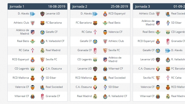 Calendario Loteria Nacional 2020.Calendario De Laliga 2019 2020 En Pdf Horarios De Partidos Y Jornadas