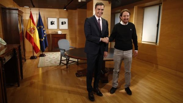 Sánchez e Iglesias en su anterior reunión.