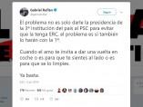 El tweet de Gabriel Rufián.