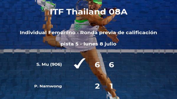 La tenista Shou Na Mu gana a la tenista Puntila Namwong en la ronda previa de calificación